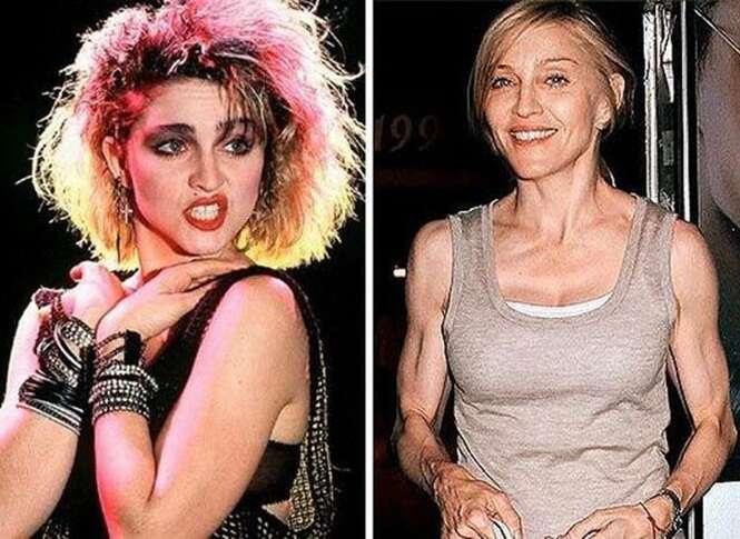 Fotos impressionantes de celebridades antes e depois de envelhecerem