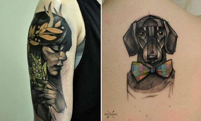 Tatuador cria desenhos personalizados de pessoas e animais em formatos geométricos