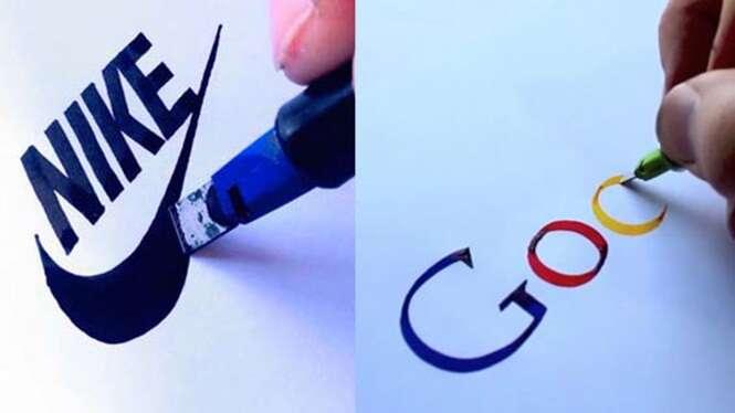 Artista cria desenhos perfeitos de famosas marcas mundiais usando apenas a mão