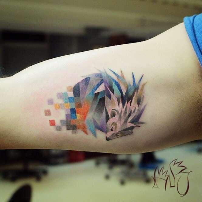 Tatuagens de animais pixelados