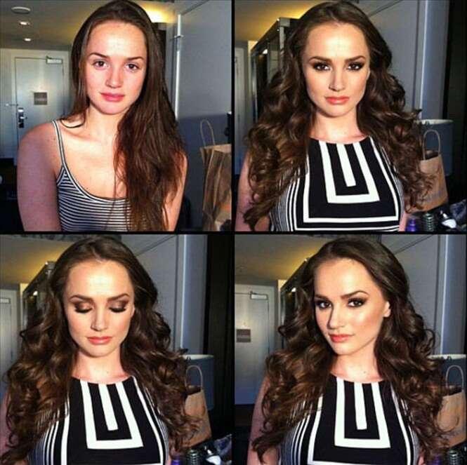 Antes e depois de modelos famosas usarem maquiagem
