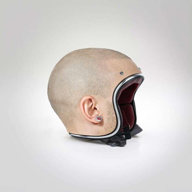 Artista cria capacetes com aparência de cabeças humanas raspadas