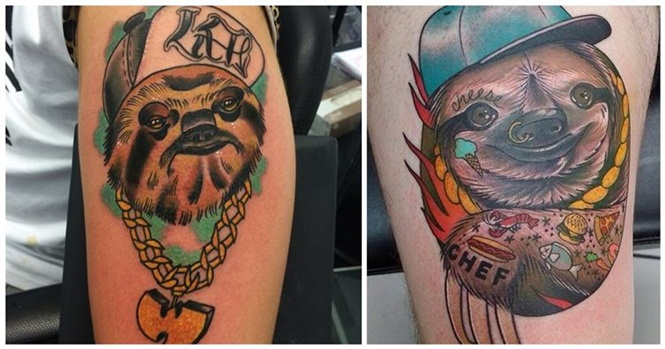 Tatuagens divertidas de preguiças