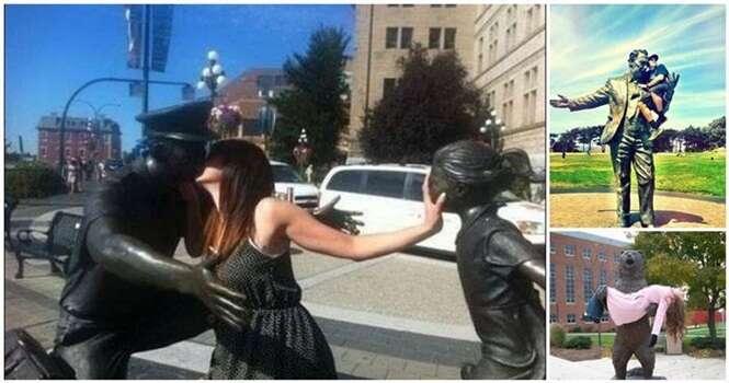 Pessoas que registraram fotos engraçadas com a ajuda de estátuas