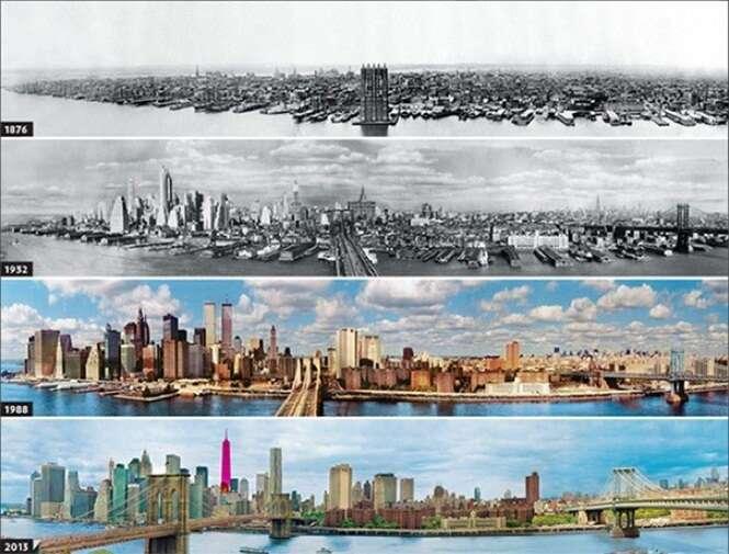 Imagens de cidades antes e depois de se desenvolverem