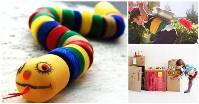 Brinquedos divertidos feitos com materiais que iriam parar no lixo