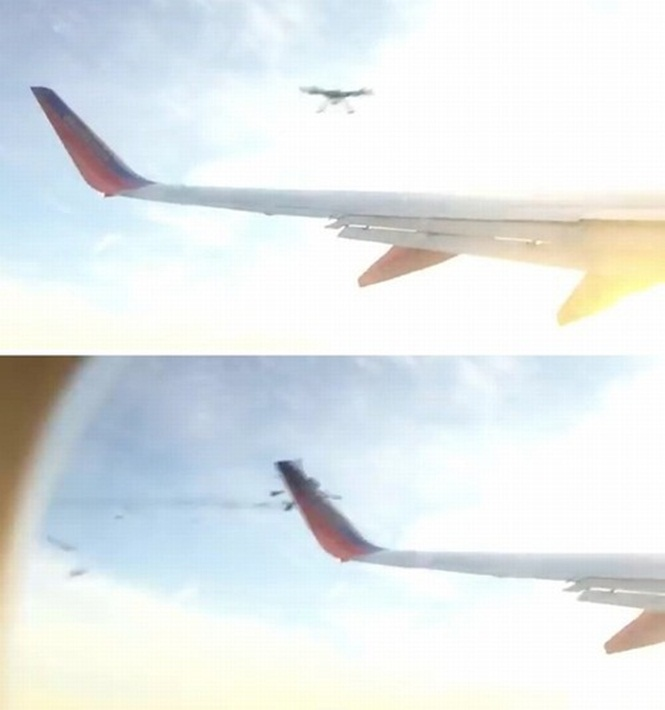 Vídeo de drone se chocando e despedaçando parte da asa de avião se torna viral