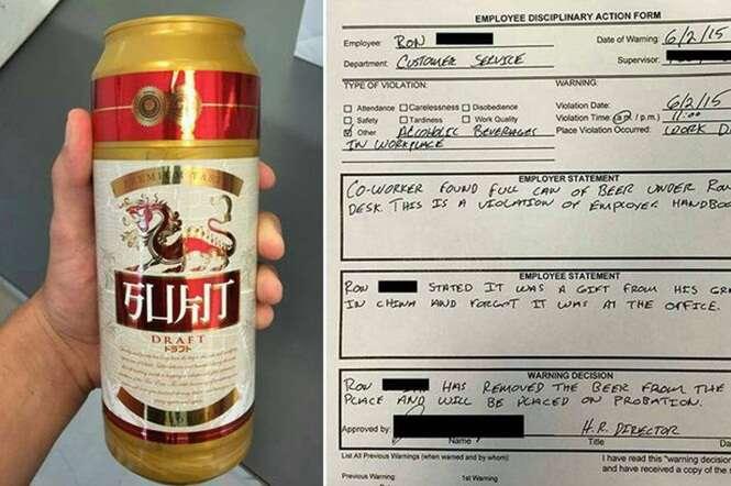 Chefe emite documento de advertência após encontrar lata de cerveja na mesa de funcionário mas mal sabia que objeto tinha uma surpresa