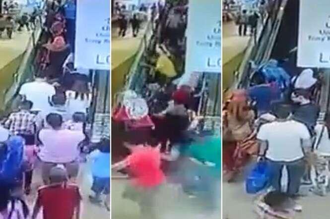 Escada rolante muda sentido e derruba várias pessoas dentro de shopping na Malásia