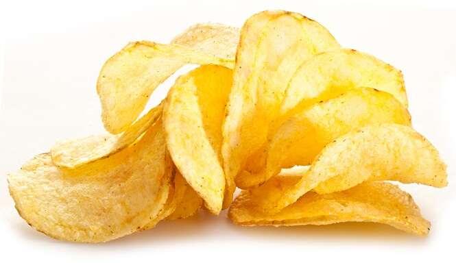 Potato chips on a white background.