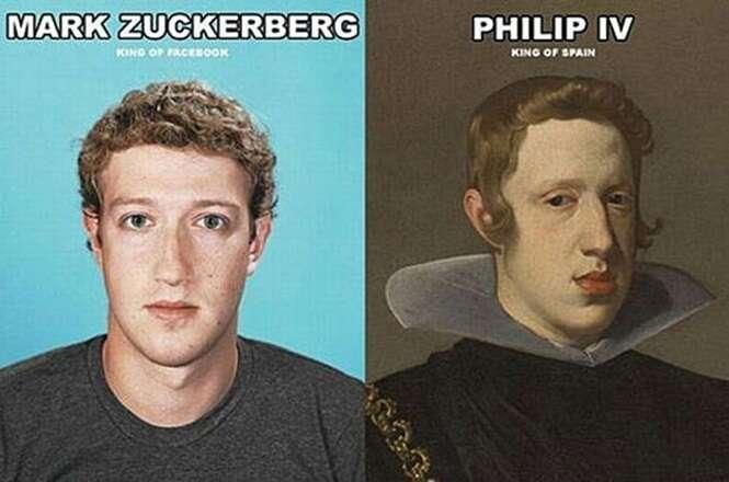 Pessoas famosas que são idênticas a personagens do passado