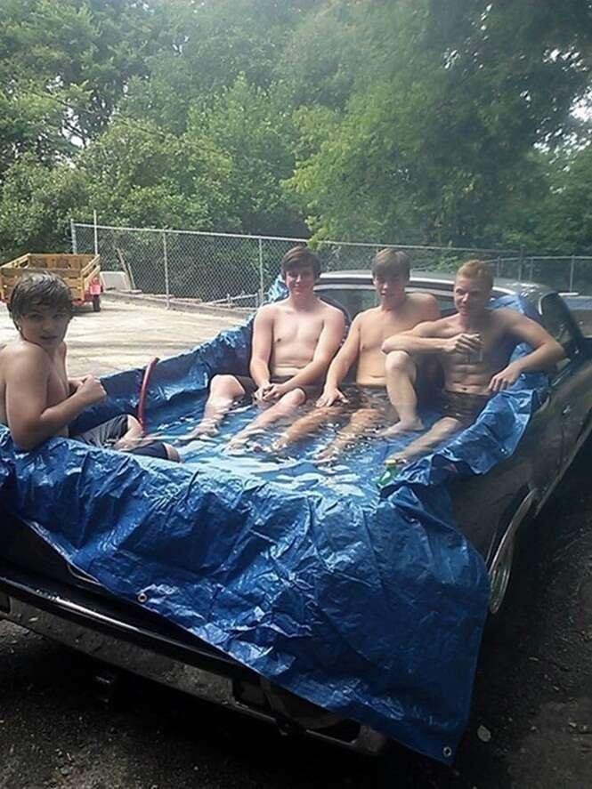 Piscinas improvisadas para superar os dias quentes