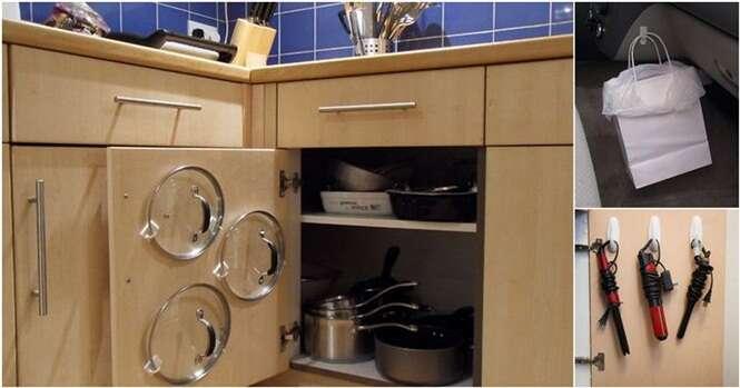 Formas de economizar espaço em casa com ganchos adesivos