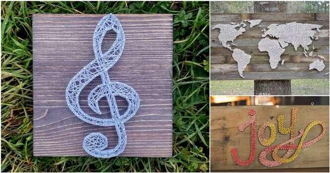 Peças criativas de arte feitas com fios