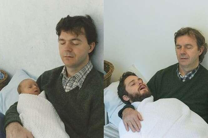 Antes e depois de fotos de família