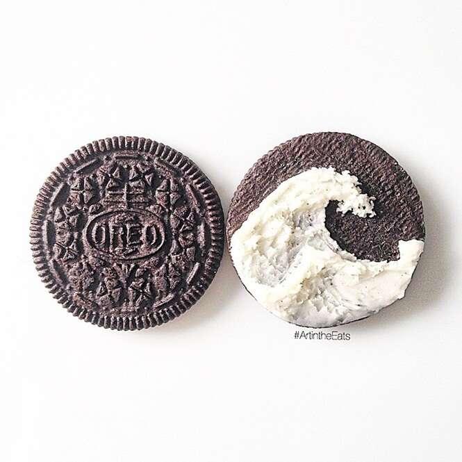 Obras de arte feitas com biscoito Oreo