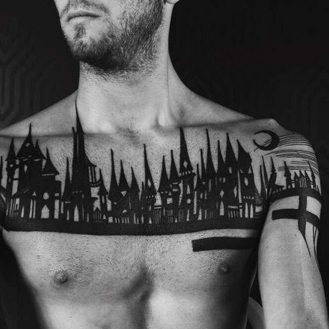 Tatuagens arquitetônicas que transformam corpos em obras de arte