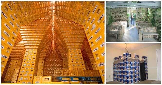 Obras dignas de engenharia criadas com engradados e garrafas de bebidas