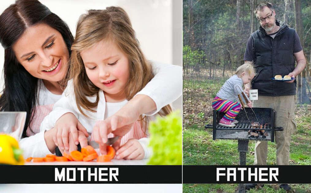 Pai e mãe cuidando dos filhos