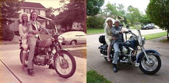 Marido e mulher comemoram 40 anos de união recriando imagens do dia do casamento