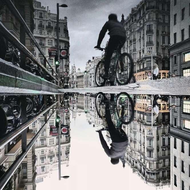 Fotógrafo usa smartphone para registrar fotos com reflexos de poças de água