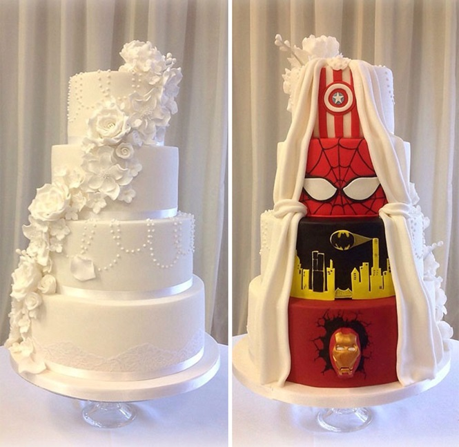 Geek se casa e demonstra seu amor pelos quadrinhos no bolo de casamento
