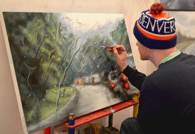 Artista impressiona criando pinturas realistas da visão da chuva no para-brisa dos carros