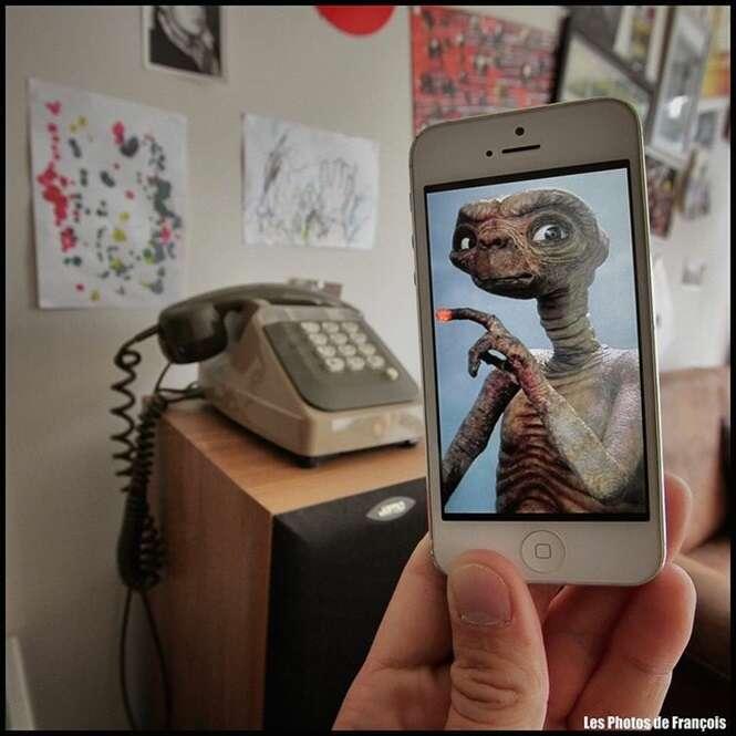 Imagens na tela do iPhone que foram combinadas com a vida real