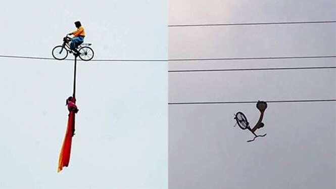Aventureiro tenta cruzar corda bamba guiando bicicleta e morre