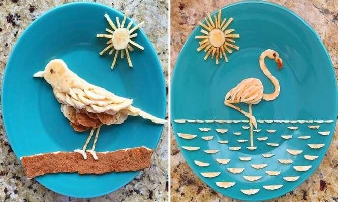 Pai cria arte no café da manhã da filha fazendo incríveis obras com banana