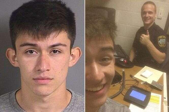Adolescente tira selfie com policial que o prendeu após flagrá-lo em alta velocidade