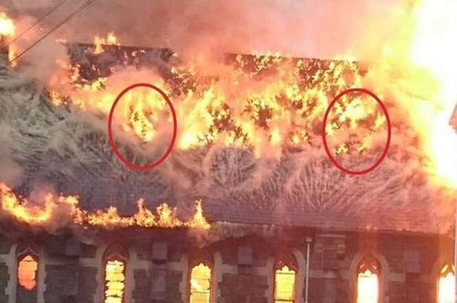 Usuários do Facebook veem rostos em meios às chamas durante incêndio em igreja
