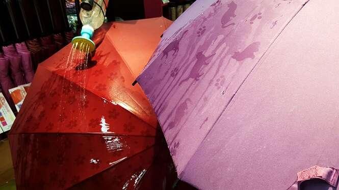Guarda-chuvas japoneses exibem estampas ocultas quando molhados