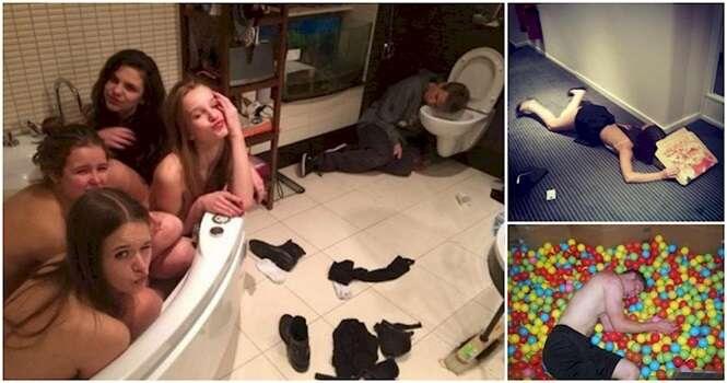 Pessoas provando que bêbados dormem em qualquer lugar