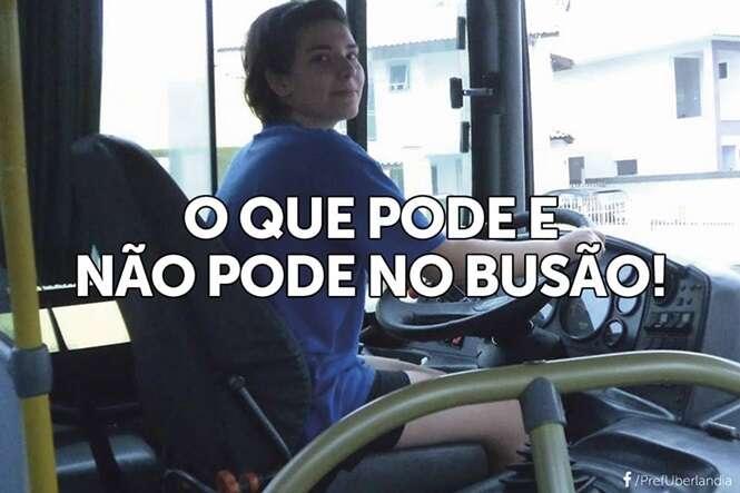 Imagens divertidas mostrando o que o passageiro pode e não pode fazer no ônibus