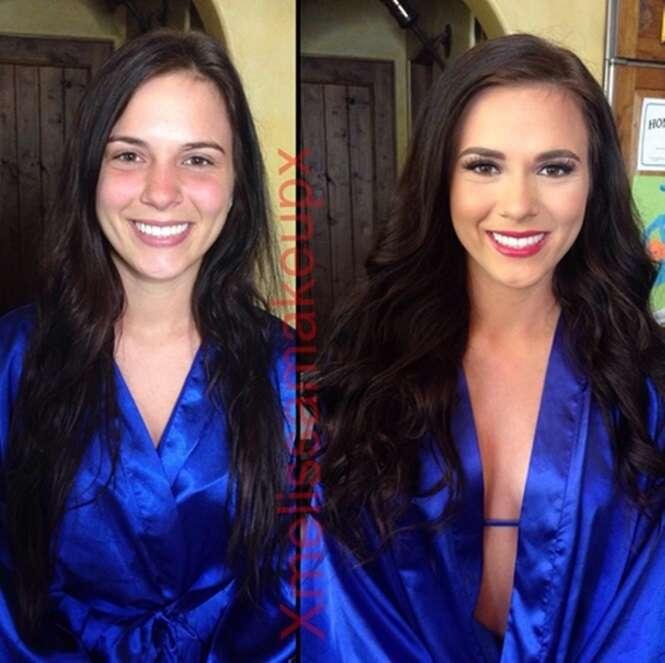 Antes e depois de estrelas de filmes para maiores com e sem maquiagem