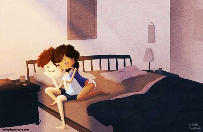Ilustrações que demonstram como deveria ser a vida dos casais felizes