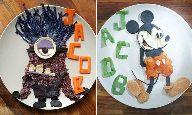 Mãe cria pratos inspirados em personagens de desenhos animados