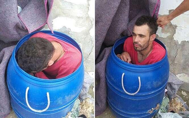 Detento tenta escapar de prisão escondido em barril de lixo