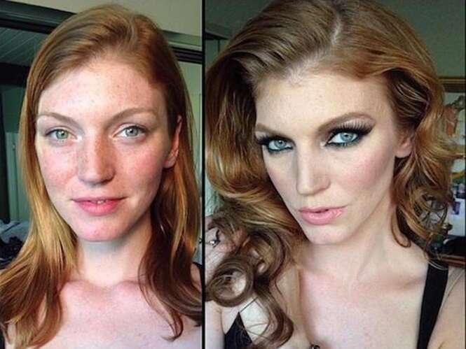 Antes e depois demonstrando o poder da maquiagem em estrelas de filmes para maiores