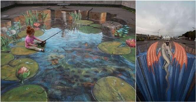 Artes de rua com ilusões de ótica de impressionar