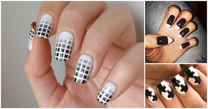 Unhas em preto e branco para quem gosta de um estilo mais clássico