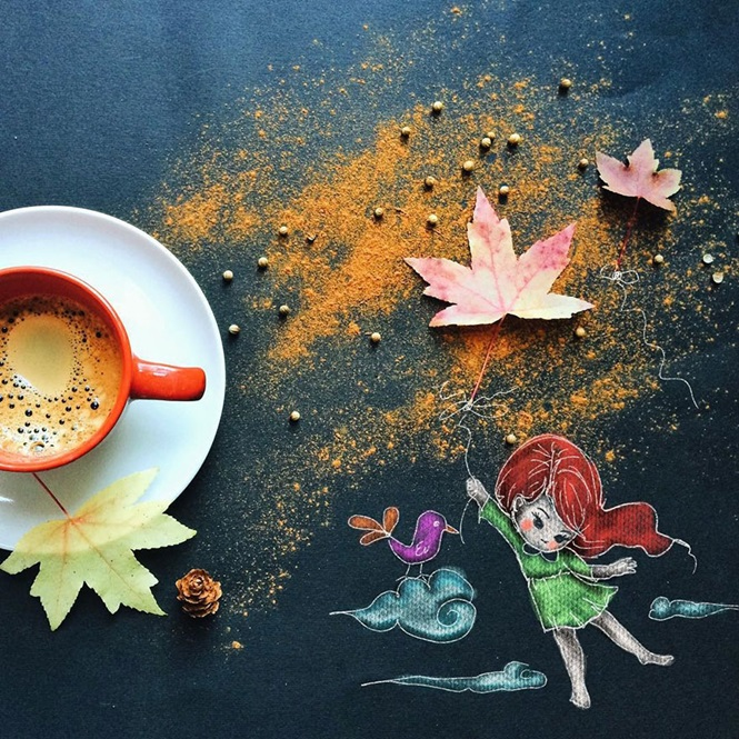 Artista cria belas ilustrações com ajuda de migalhas do café da manhã