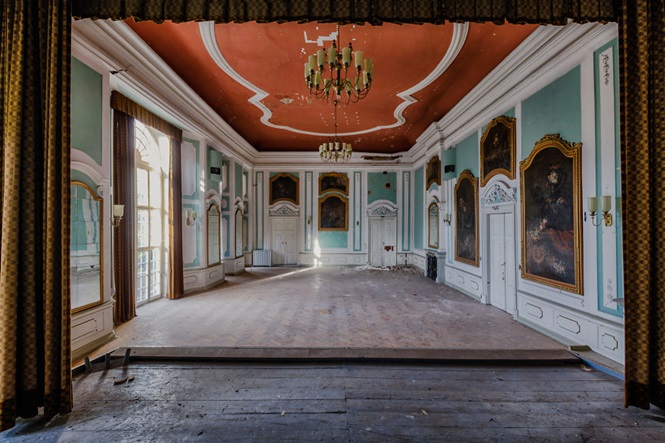 forgotten ballroom in a castle