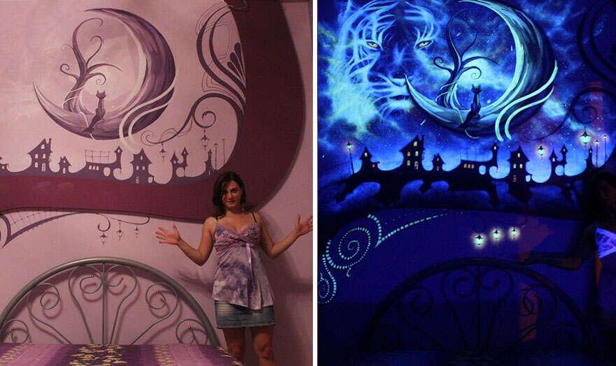 Artista usa tinta que brilha no escuro e transforma quartos à noite