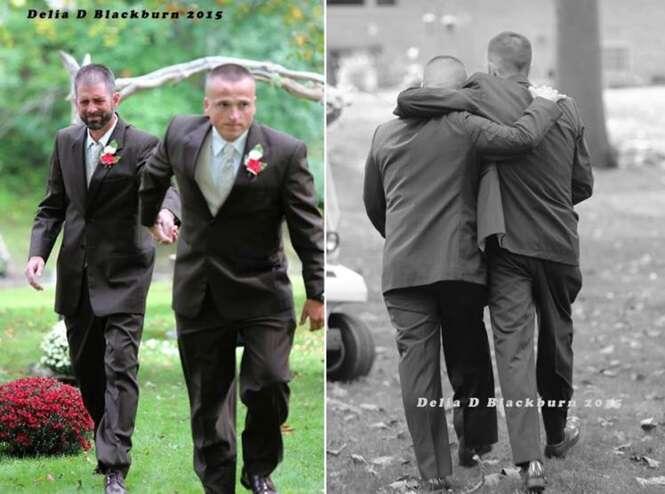 Foto de pai interrompendo casamento para buscar padrasto da filha para subir ao altar comove o mundo