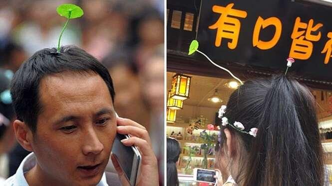 Para atrair a sorte, chineses usam amuletos que parecem crescer na cabeça