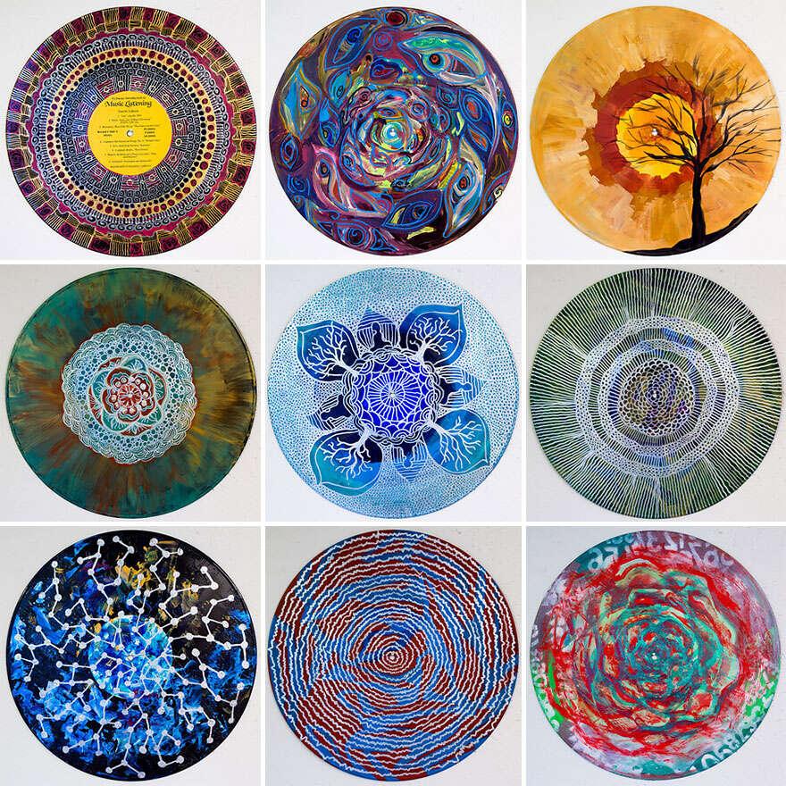 Artista faz sucesso com pinturas em discos de vinil