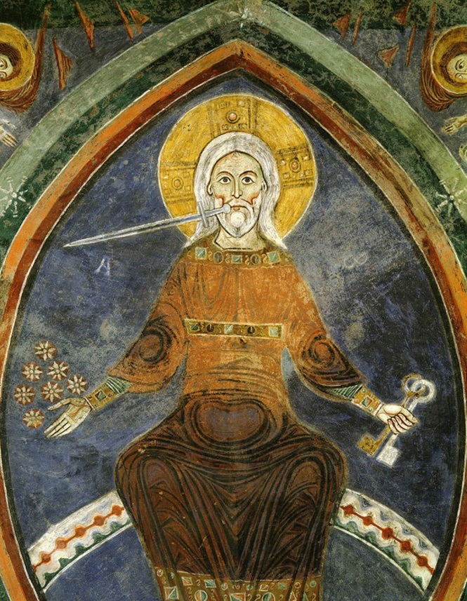 Christ of the Apocalypse on throne sword in mouth holding 7 stars and keys with 7 candles angels and churches in Asia...