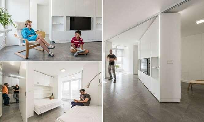 Arquitetos criam apartamento com paredes móveis para tornar ambiente funcional e espaçoso